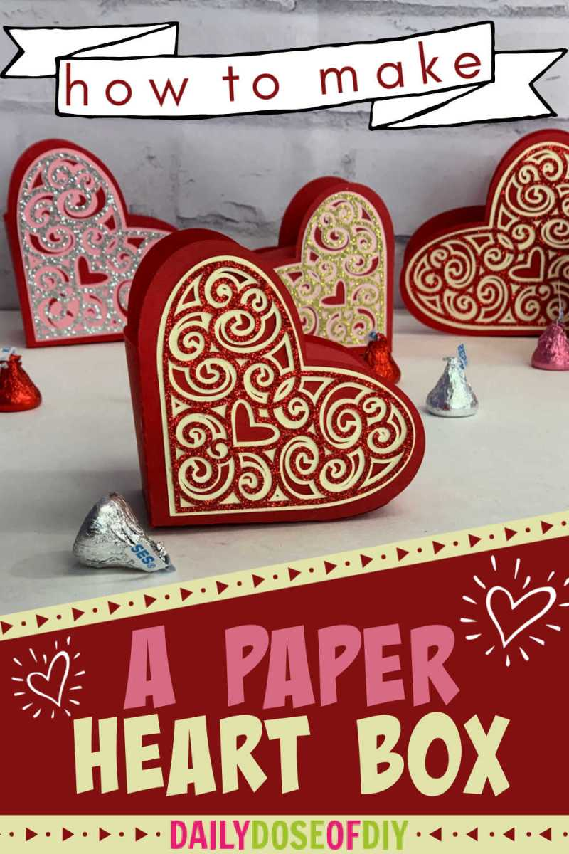 a Pinterest graphic for making paper heart boxes