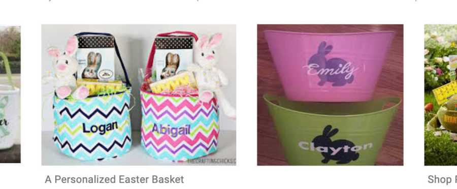 comparing two custom Easter baskets when making money with your Cricut