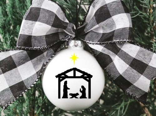 Christmas Ornament wit free Nativity SVg file
