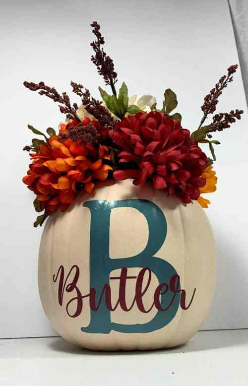Personalized Pumpkin with flowers for a Fall centerpiece