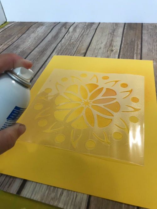 spraying a reusable stencil
