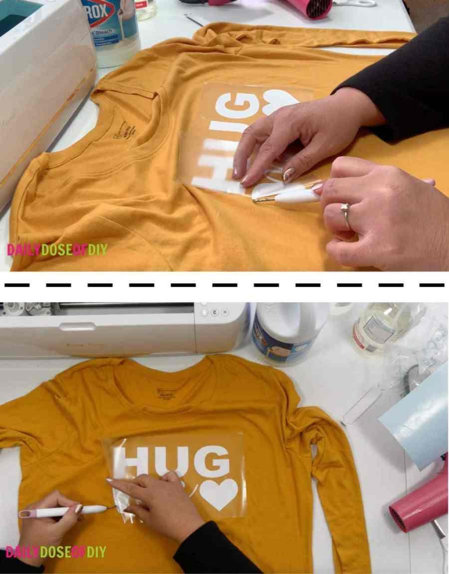 Removing transfer tape from bleach shirt design