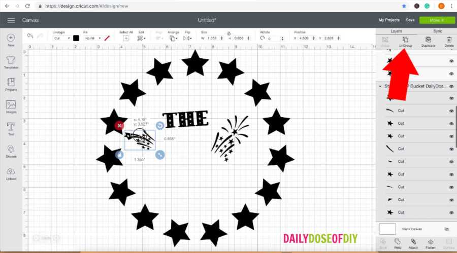 Ungroup the patriotic SVG file in Design Space to customize it for your light up camp bucket