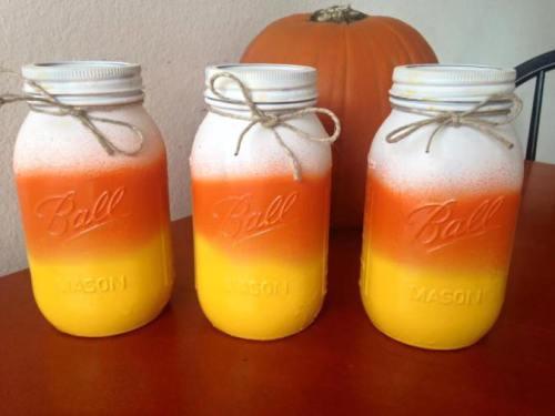 candy corn painted mason jars