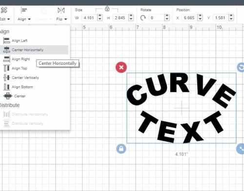 curving text in cricut design space