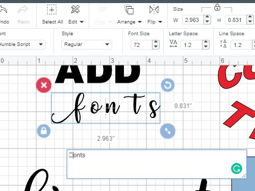 Adding glyphs and special characters to text in Cricut Design Space.
