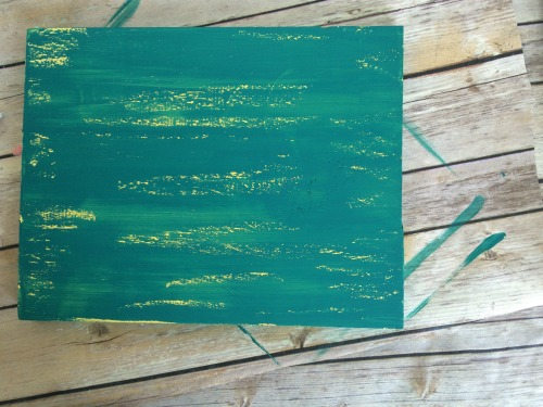 teal and yellow chippy paint