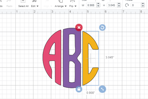 complete circle monogram font in Cricut design space