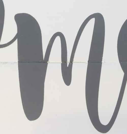 reavealing the crisp letters without bleeds form a stencil