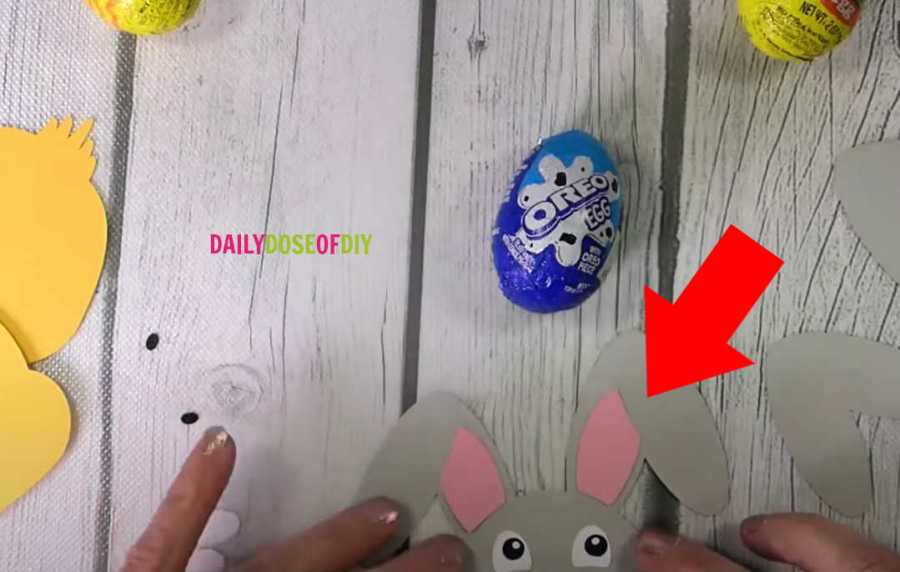 Make sure the bunny ears are on the correct side before you add glue