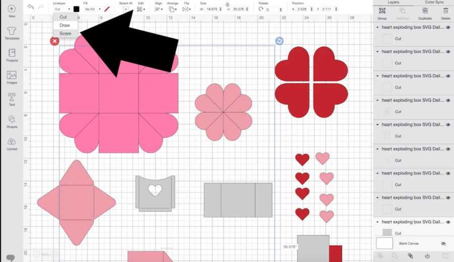 exploding box design in cricut design space