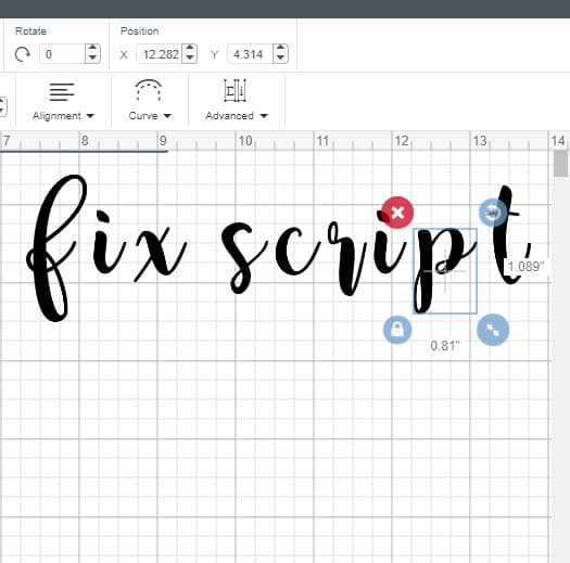 ungrouped letters in cricut desing space