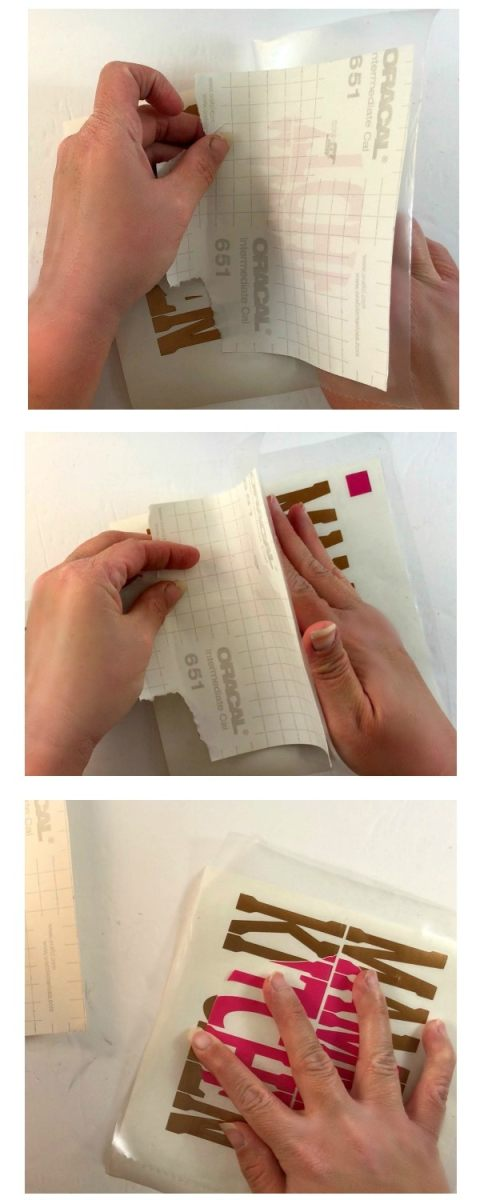 Remove the vinyl backing while smoothing down the vinyl when you are layering adhesive vinyl