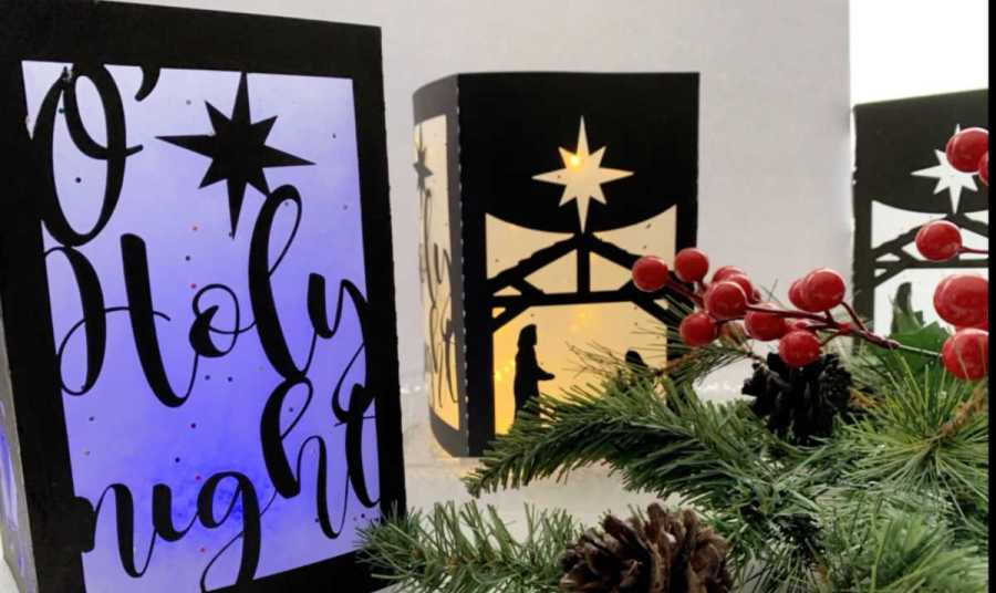 lit up nativity scene luminaries made with a Cricut