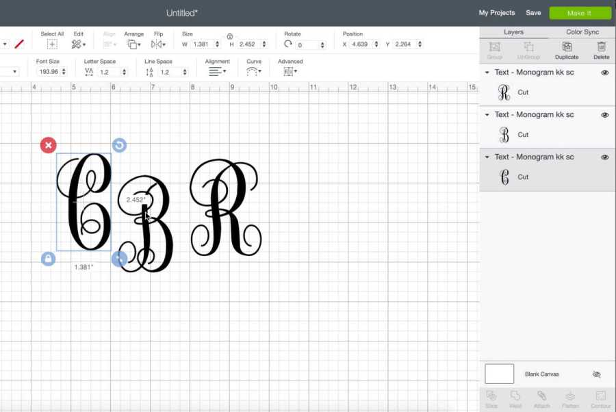 Make a monograms with your Cricut using a swirly font and your three initials