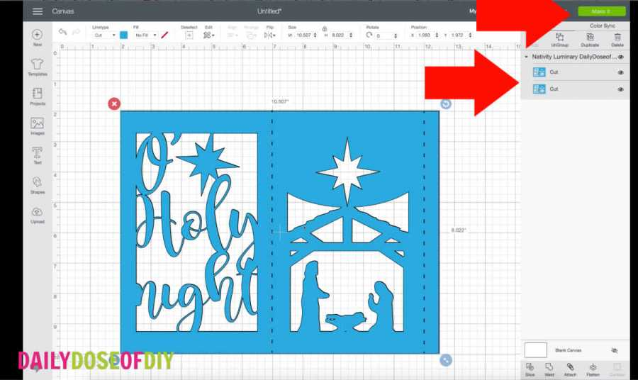 free nativity luminary svg file in Cricut Design Space
