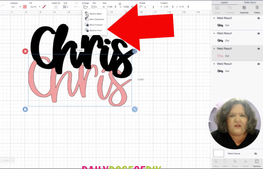 stacking layers to offset text and create a shadow layer in Cricut Design Space