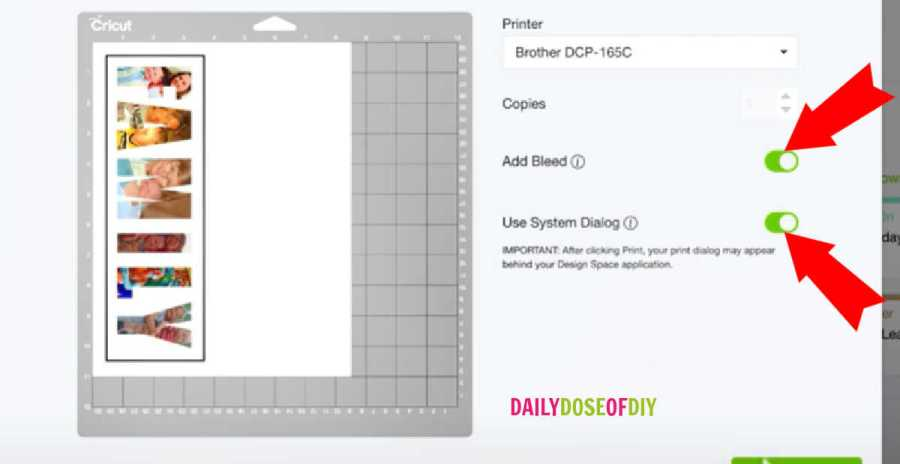 "In  the print setup make sure to toggle on the two lines marked ""add bleed"" and ""use system dialog"""
