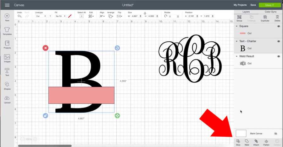 Slice out the rectangle in Cricut Design Space to make a split monogram