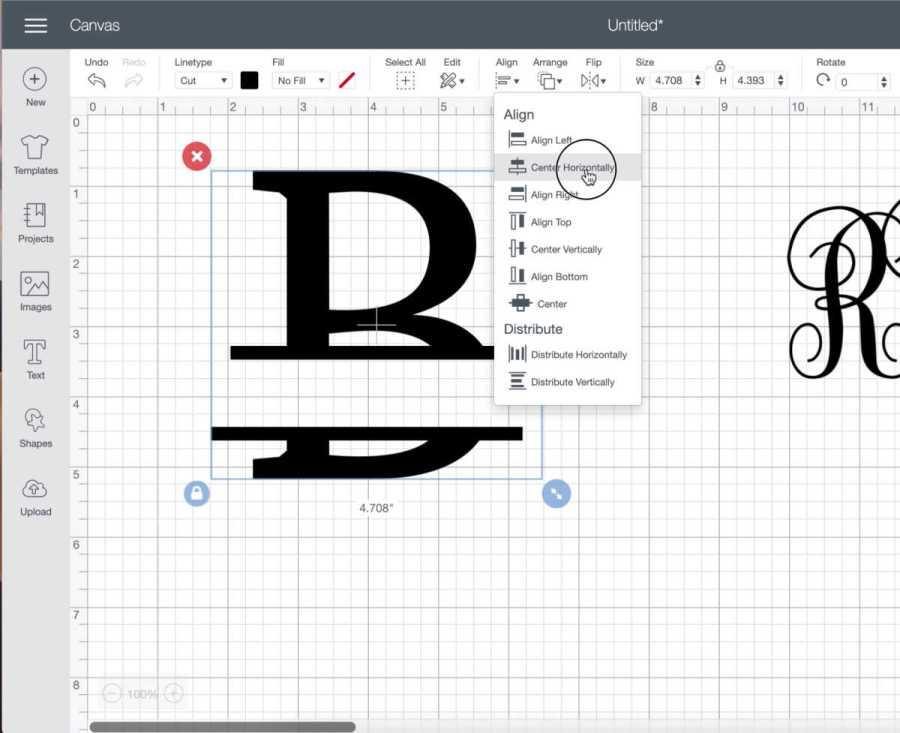 center the lines of your split level monogram in cricut design space