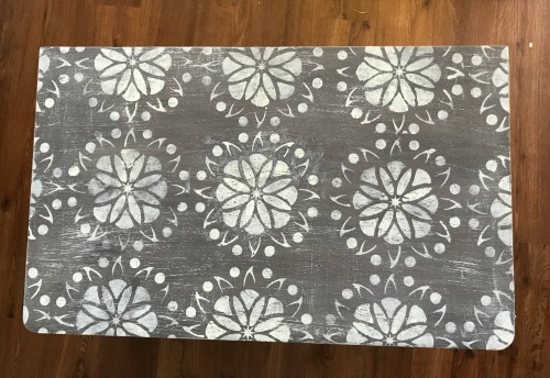 Table top stenciled with a DIY reusable stencil