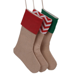 Burlap stocking with colored cuffs for Christmas crafts