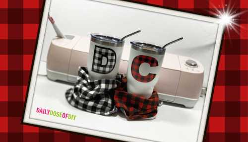 buffalo plAID PAttern vinyl on tumblers