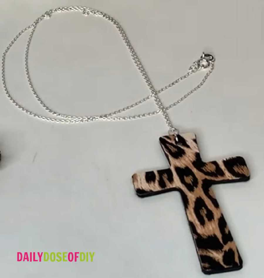finished wooden cross necklace