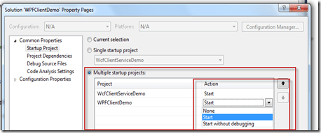 How to setup multiple startup projects in Visual Studio ?