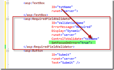 How to set automatically focus on ASP.NET controls when validation fails ?
