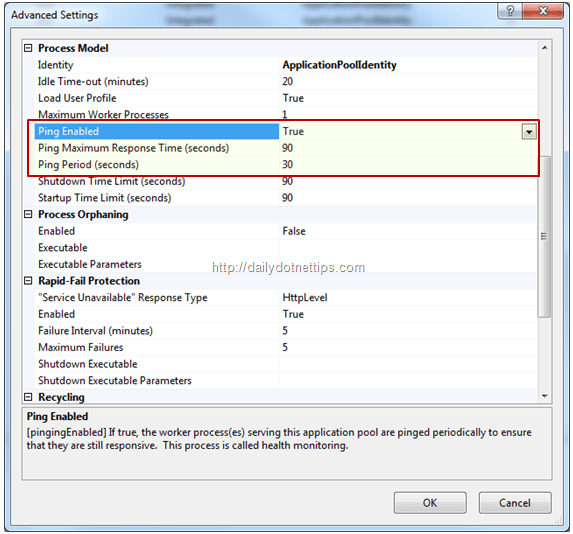 Configuring Pinging in IIS 7 0 / 7 5 to avoid terminating