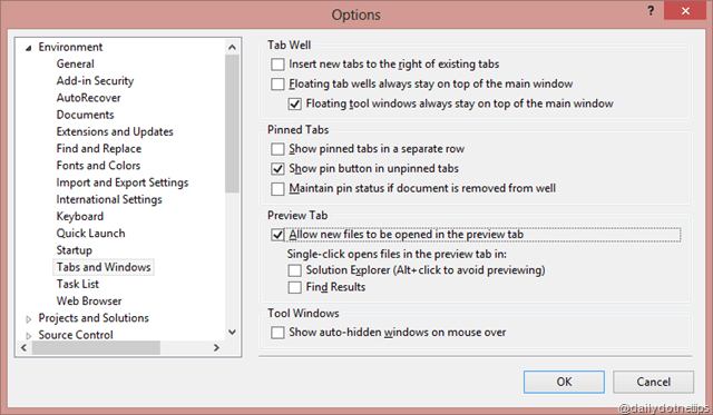 Preview Selected Items in Visual Studio - Daily  NET Tips
