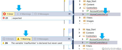 Error View  in Solution Explorer View on Mouse Over