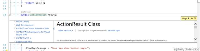 Peek Help in Visual Studio 2013