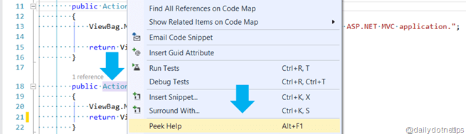 Visual Studio 2013 Tips and Tricks - Peek Help - Power Productivity Tool