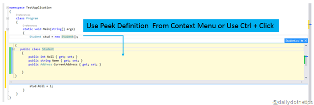 Peek Definition Using Ctrl + Click