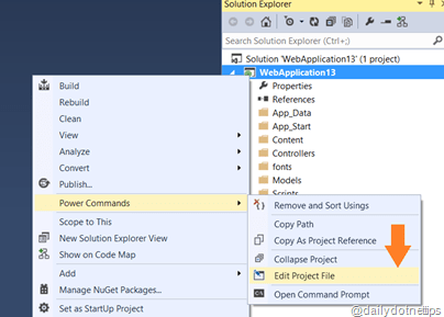 EditProjectFilesusingPowerCommands thumb 5 Internal things that you should know about IIS Express