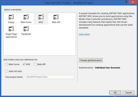 Simplified Web project and Authentication mode selection in Visual Studio 2013