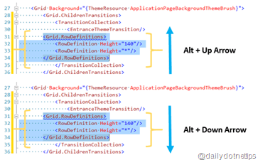 Moving the XAML Code Block – Visual Studio 2013