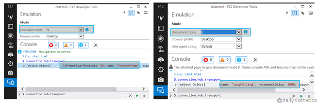 Transport in IE9 and IE8