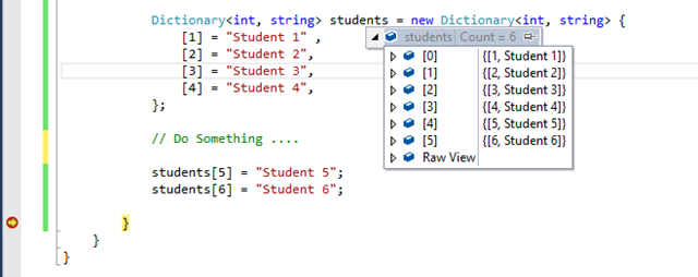 Dictionary initializer in C# 6.0