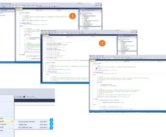 Create your own development environment View – Custom Windows Layouts in Visual Studio 2015