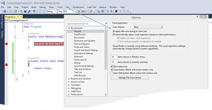 DefultMenuStyle How to change Menu Bar Style in Visual Studio 2015 ?