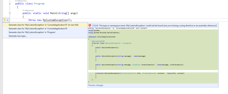 Exception Class Code Snippet Preview