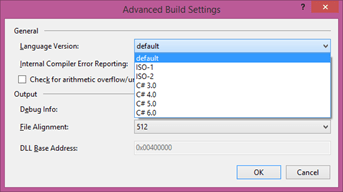 How To Check Default Language Version In Visual Studio ?