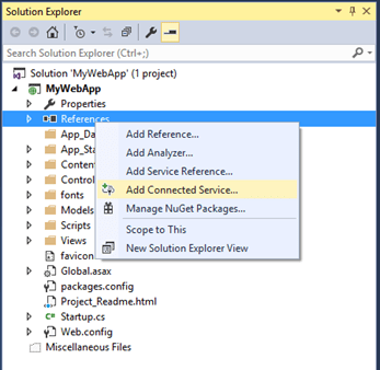 Connecting Azure Storage Using Add Connected Services in Visual Studio 2015