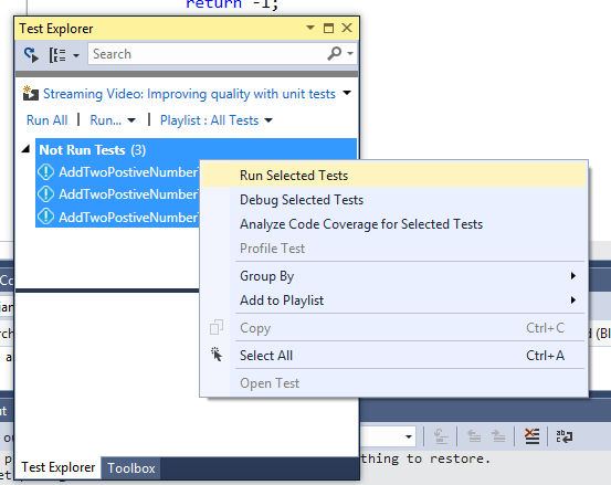 Exploring and Managing Unit Tests Using Test Explorer in