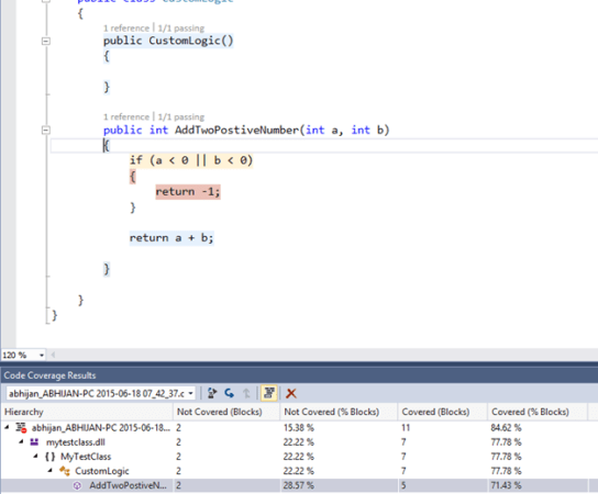 Understanding Code Coverage – How to determine which portion of code is being tested in Visual Studio ?