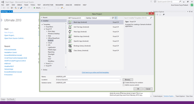 How To Start Building Android App using Xamarin in Visual Studio 2013 ?