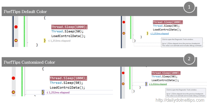 How To customize PerfTips Colors in Visual Studio 2015 ?